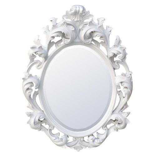 Baroque White Oval Bevelled Tall Mirror